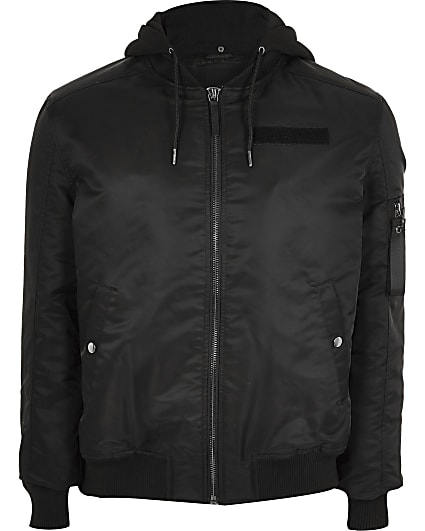 Big and Tall black hooded bomber jacket