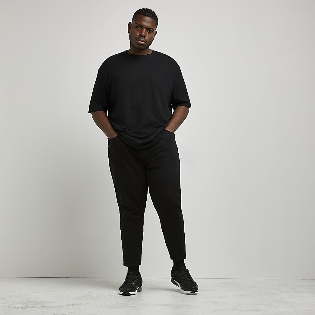 Big & Tall – Jimmy – Schwarze Crop Jeans mit schmal zulaufendem Bein