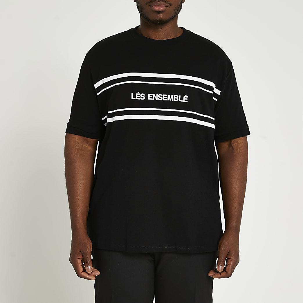 Big & Tall black 'Lés Ensemblé' t-shirt