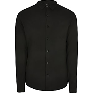 Big and Tall black long sleeve pique shirt