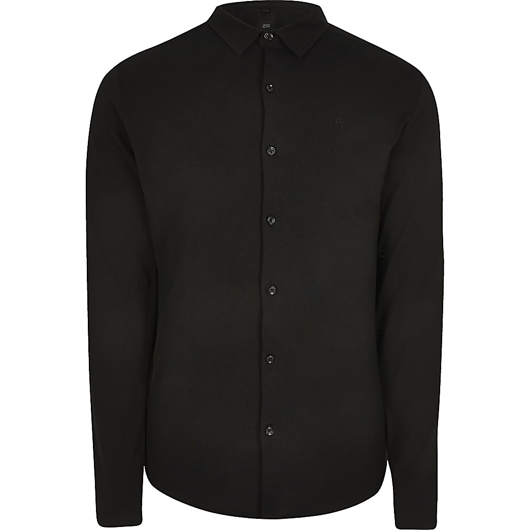 Big and Tall black long sleeve pique shirt