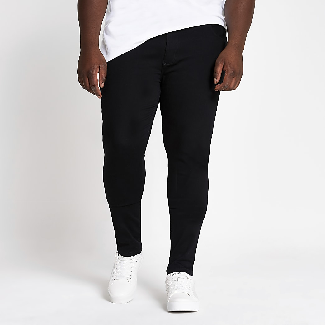 Big and Tall - Ollie - Zwarte spray-on fit jeans