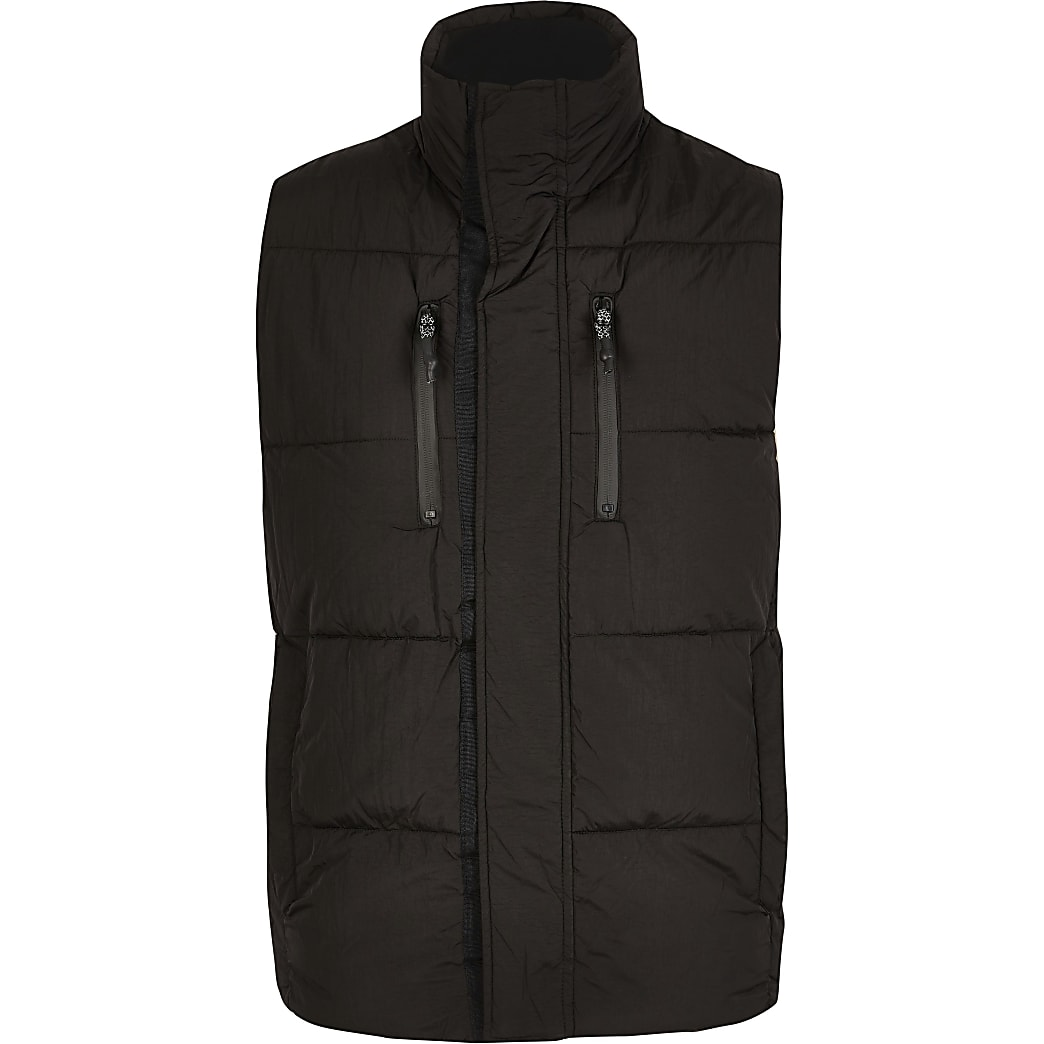 Big and Tall black padded zip gilet