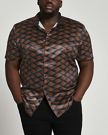 Big & Tall black print short sleeve shirt