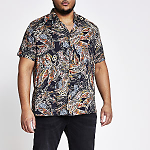 Big and Tall black printed short sleeve shirt