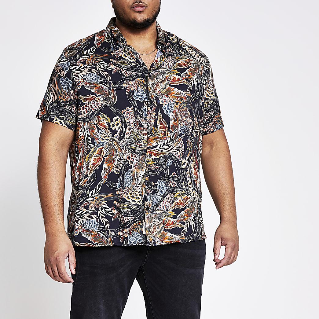 Big & Tall – Kurzärmeliges Hemd in Schwarz mit Print