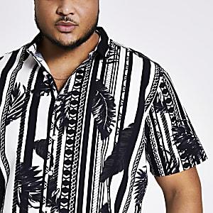 Big and Tall - Zwart slim-fit overhemd met print