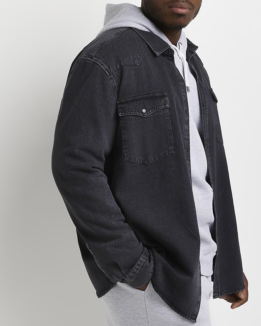 Big & tall black regular fit denim shirt