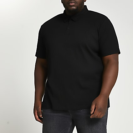 Big & Tall black ribbed slim fit polo shirt