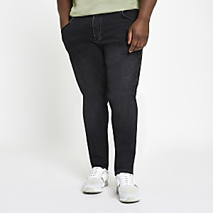 Big and Tall – Sid – Schwarze Skinny Fit Jeans