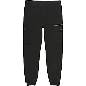 Big and Tall - Zwarte skinny-fit cargobroek
