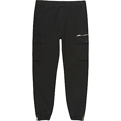 Big and Tall black skinny fit cargo trousers