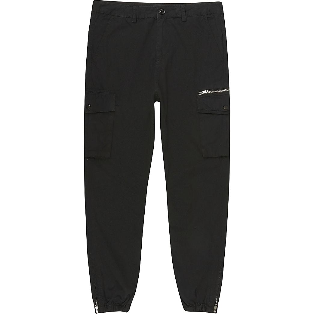 Big and Tall – Pantalon cargo skinny noir