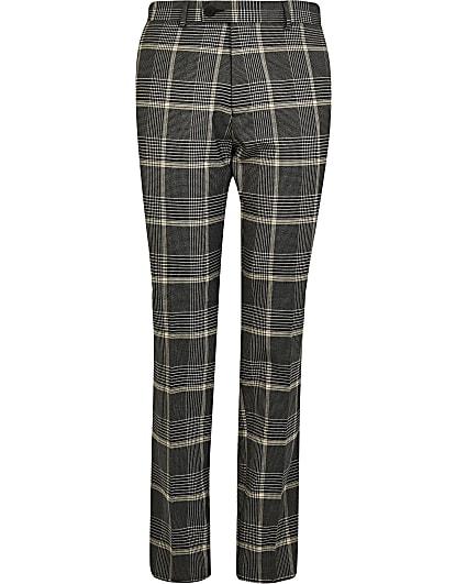 Big & tall black skinny fit check trousers