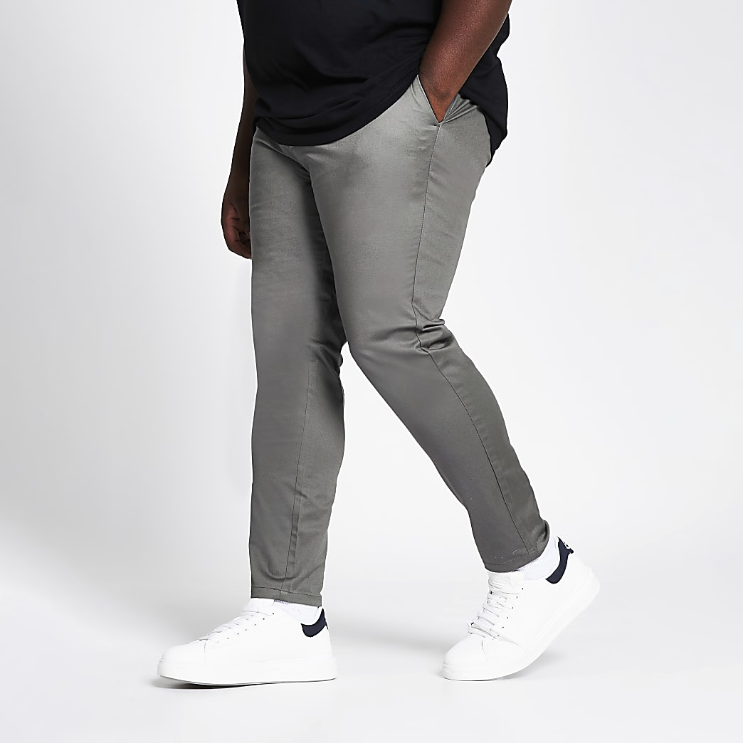 Big and Tall black skinny fit chino trousers