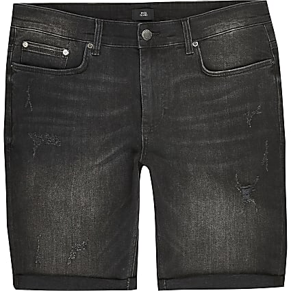 Big and Tall black skinny fit denim shorts