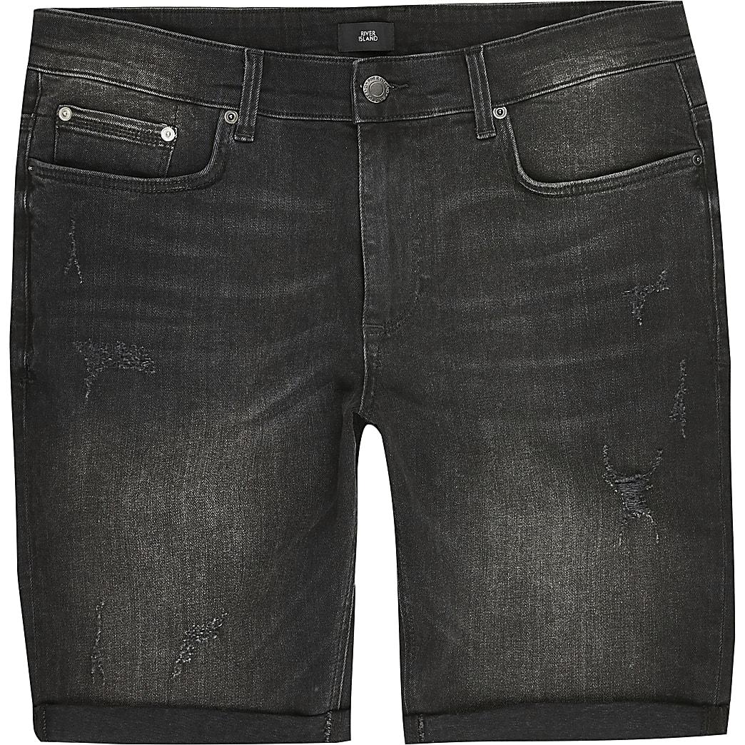 Big and Tall black skinny fit denim shorts