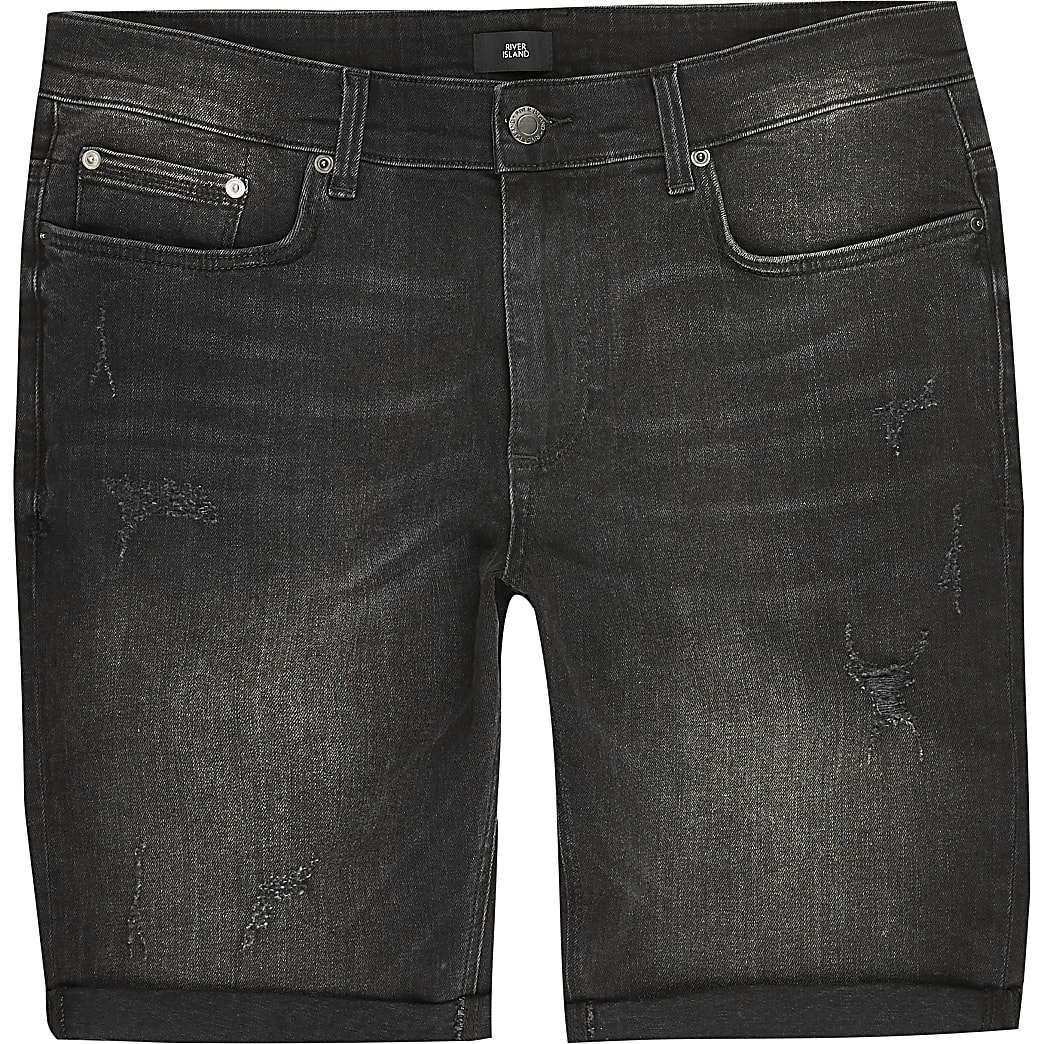 Big and Tall - Zwarte denim skinny-fit short