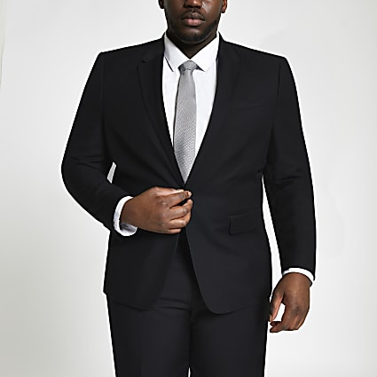Big and Tall black skinny fit suit jacket