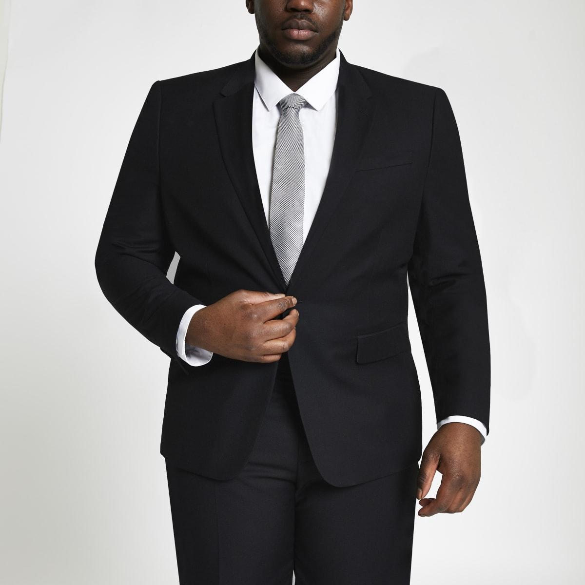 Big and Tall – Veste de costume skinny noire