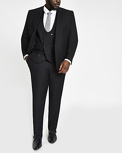 Big and Tall black skinny fit suit trousers