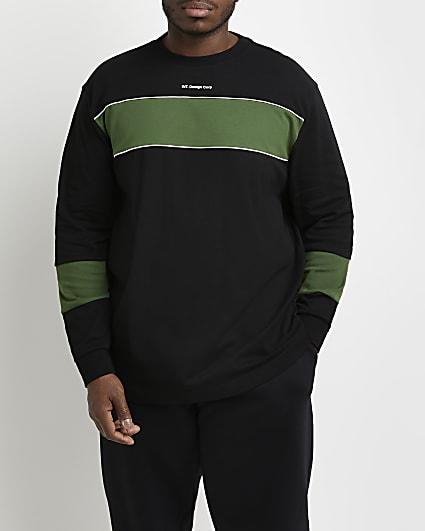 Big & tall black slim fit block t-shirt