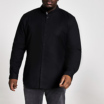 Big and Tall black slim fit Oxford shirt
