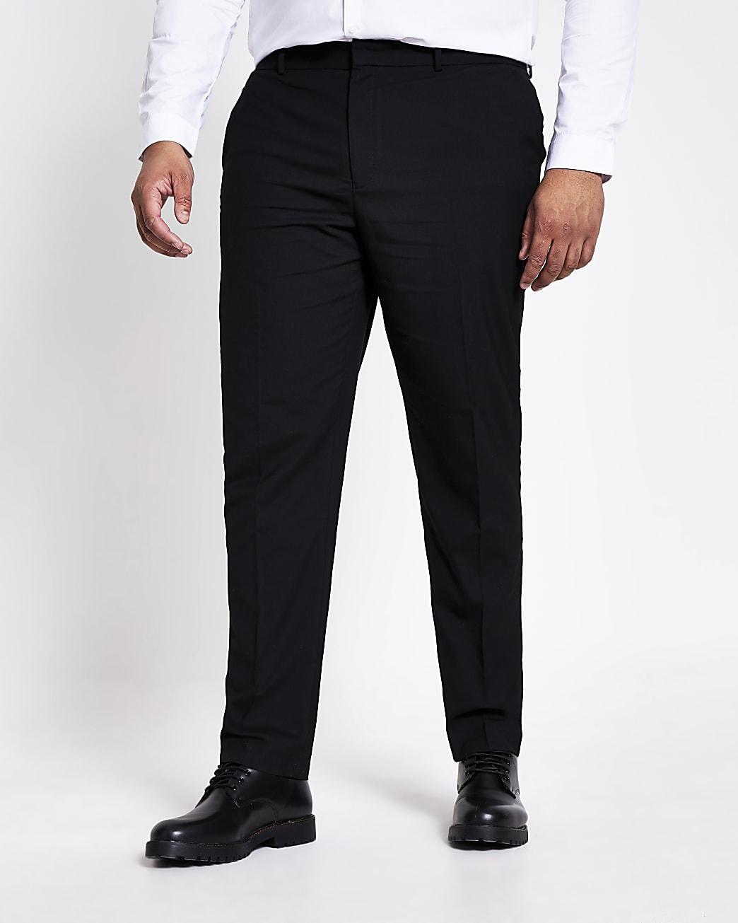Big and Tall black slim fit smart trousers