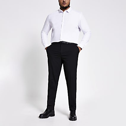 Big and Tall black slim fit smart trousers