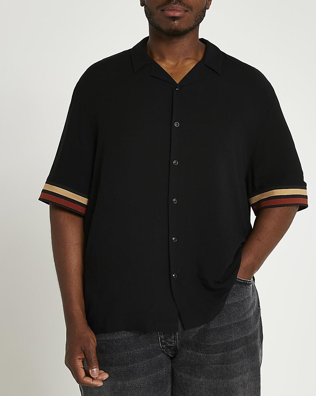 Big & Tall black stripe short sleeve shirt