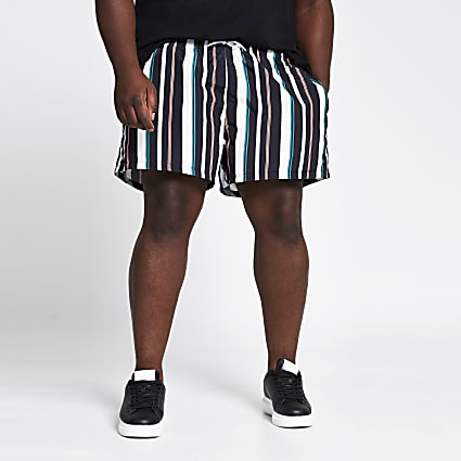 Big and Tall black stripe swim shorts