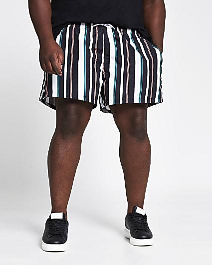 Big and Tall black stripe swim shorts