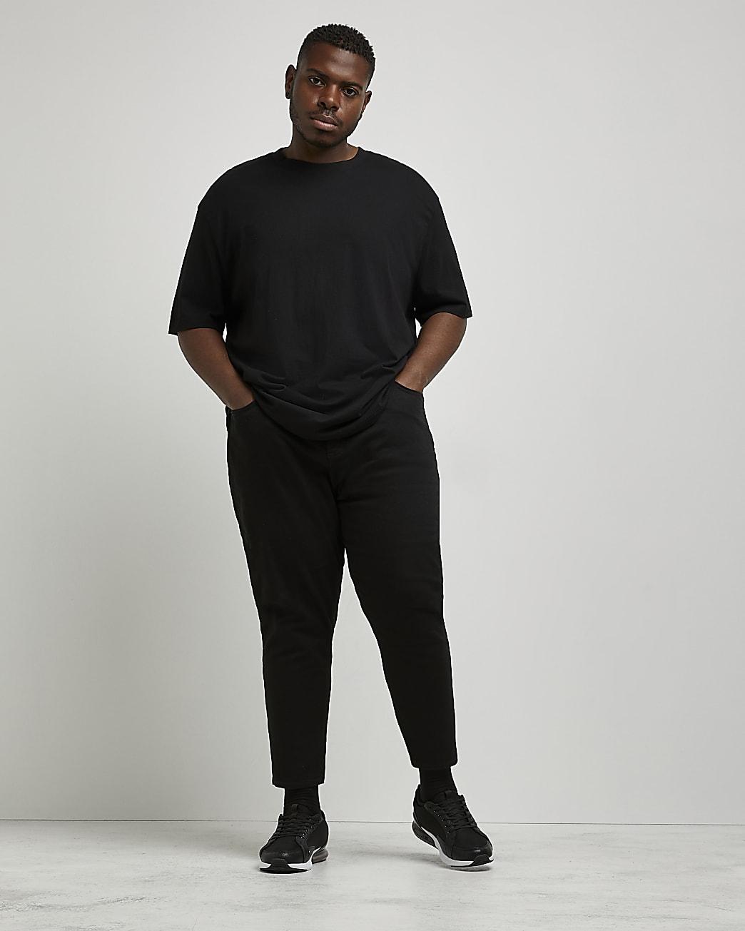 Big & Tall black tapered cropped jean