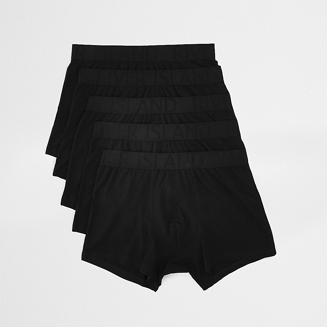 Big and Tall - Set van 5 zwarte strakke boxers