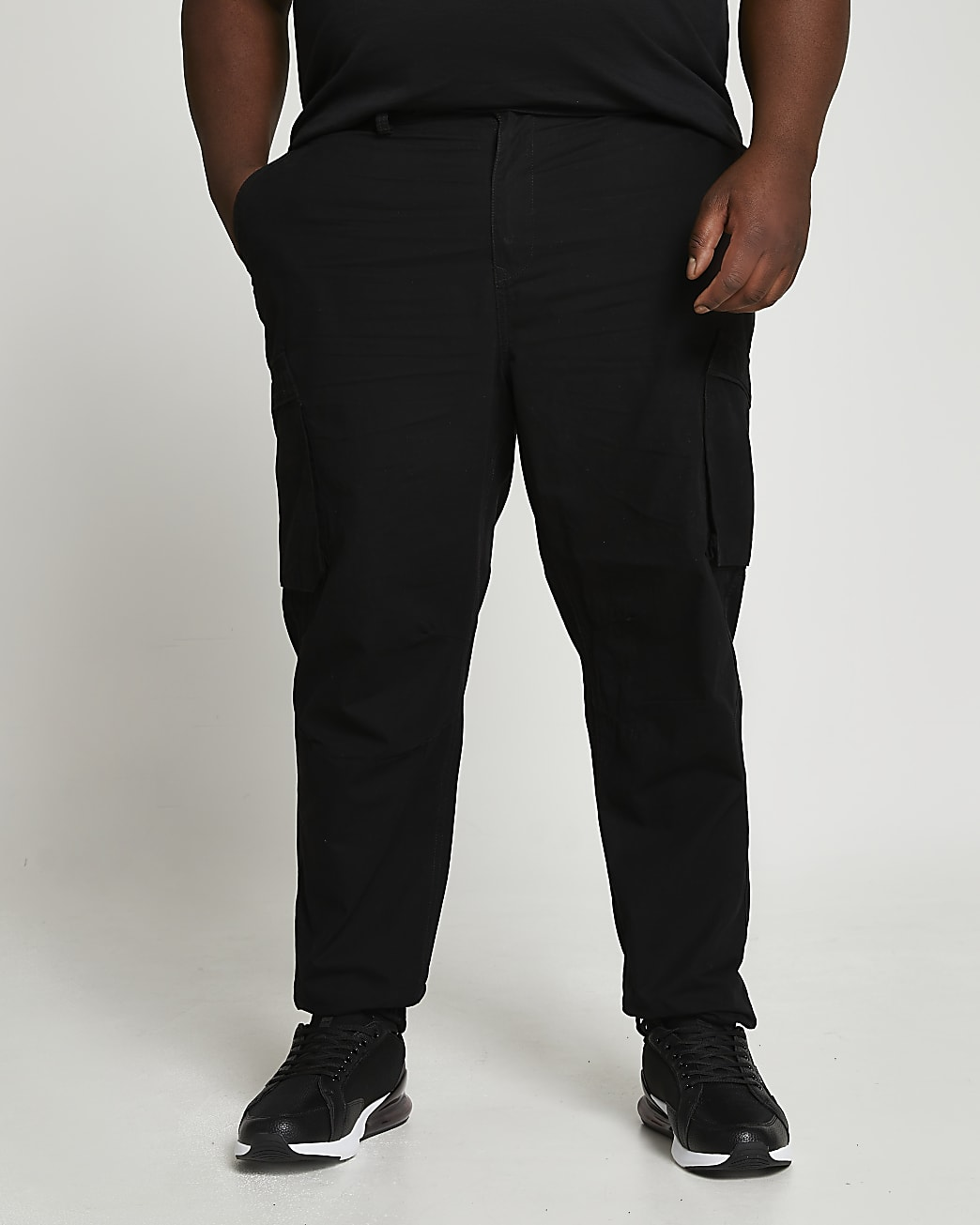 Big & Tall black utility trousers