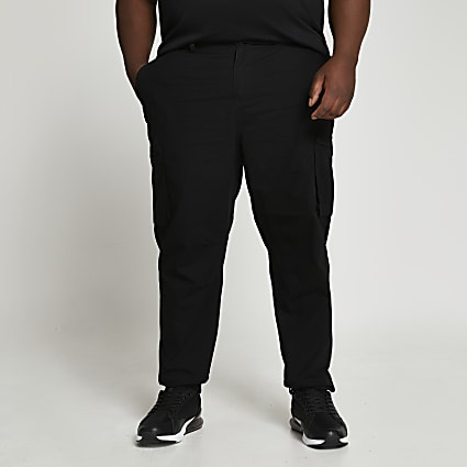 Big & Tall black utility trousers