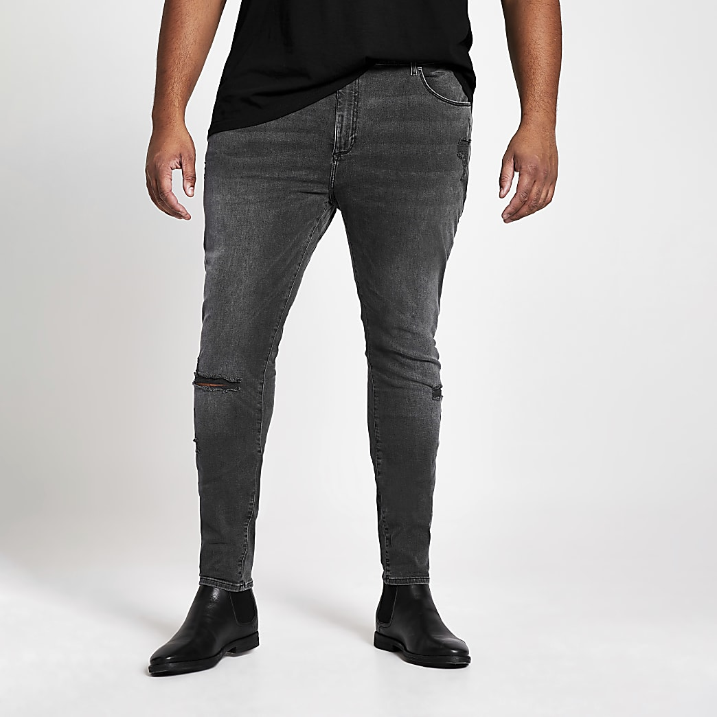 Big and Tall – Schwarze Ollie – Spray-on-Jeans im Washed-Look