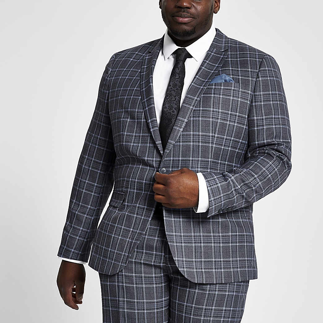 Big and Tall – Veste de costume à carreaux bleue
