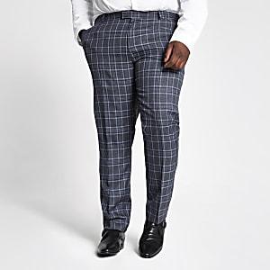 Big & Tall – Blaue, karierte Anzughose