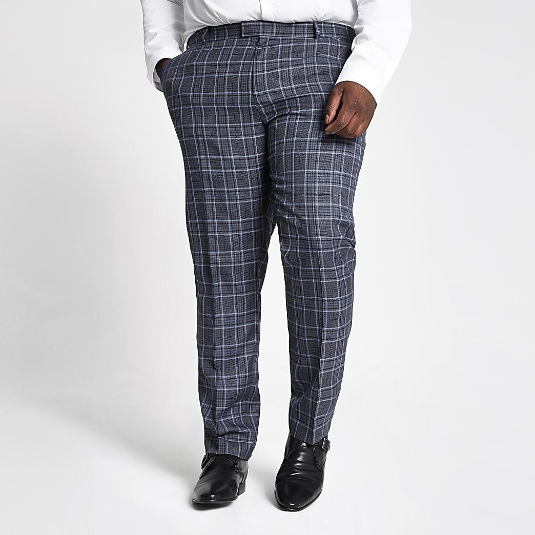 Big and Tall – Pantalon de costume à carreaux bleu