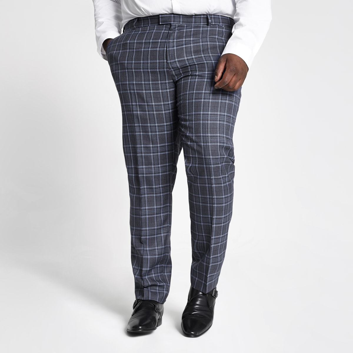 Big and Tall – Pantalon de costume à carreaux bleu