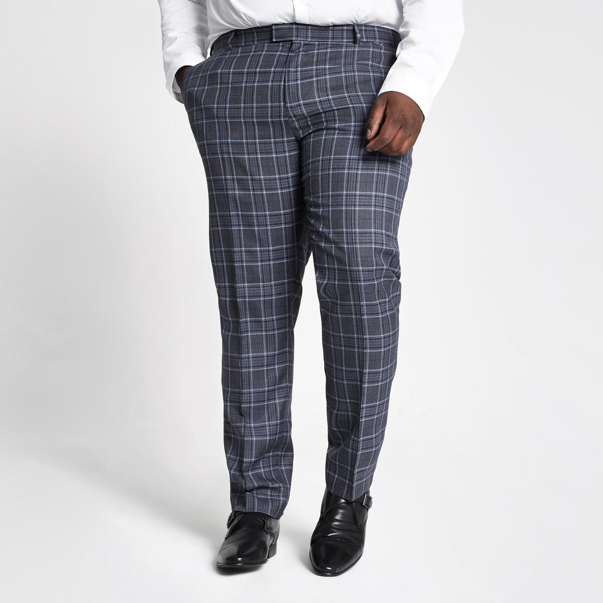Big and Tall - Blauwe geruite pantalon