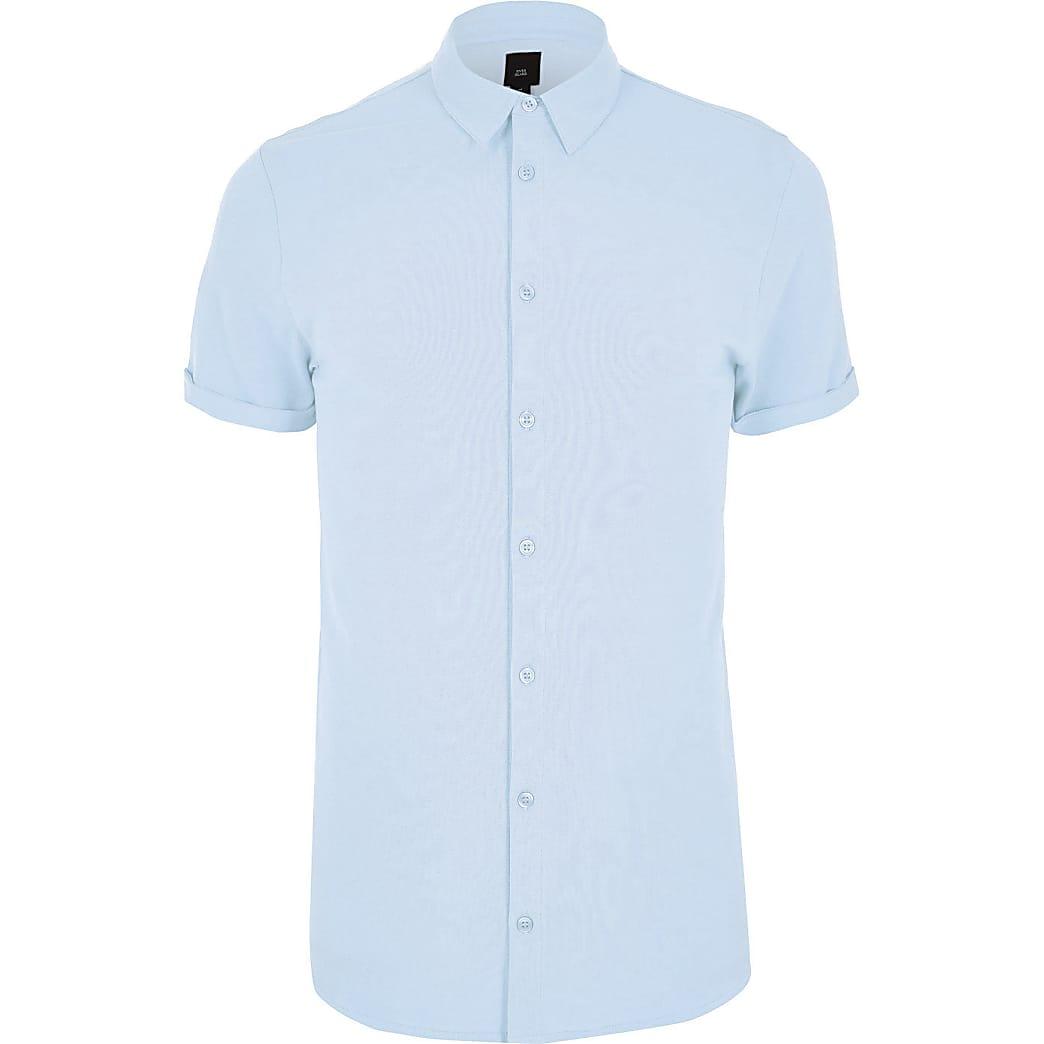 Big and Tall – Chemise manches courtes en piqué bleu