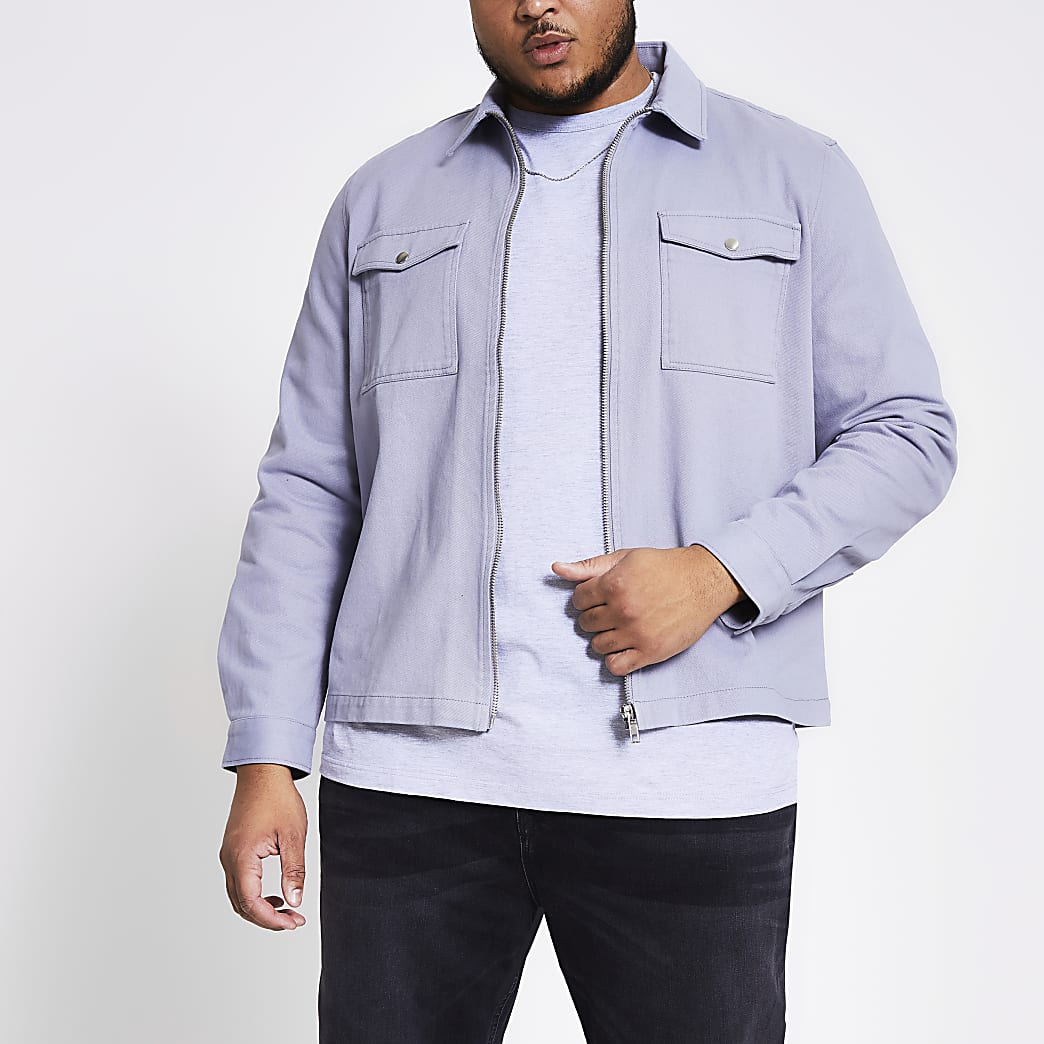 Big and Tall blue regular fit overshirt