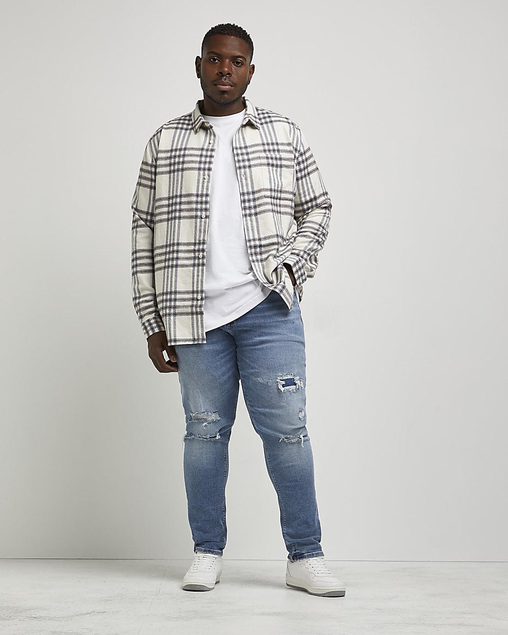 Big & Tall blue ripped skinny fit jeans