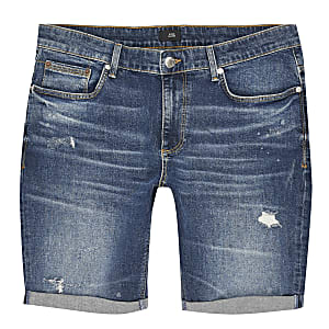 Big and Tall - Blauwe ripped skinny-fit short