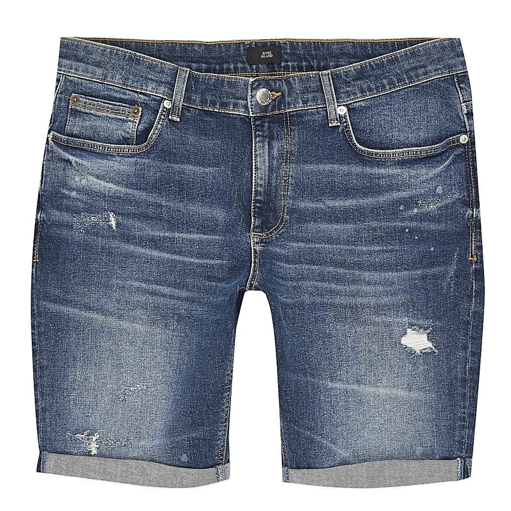 Big and Tall blue ripped skinny fit shorts