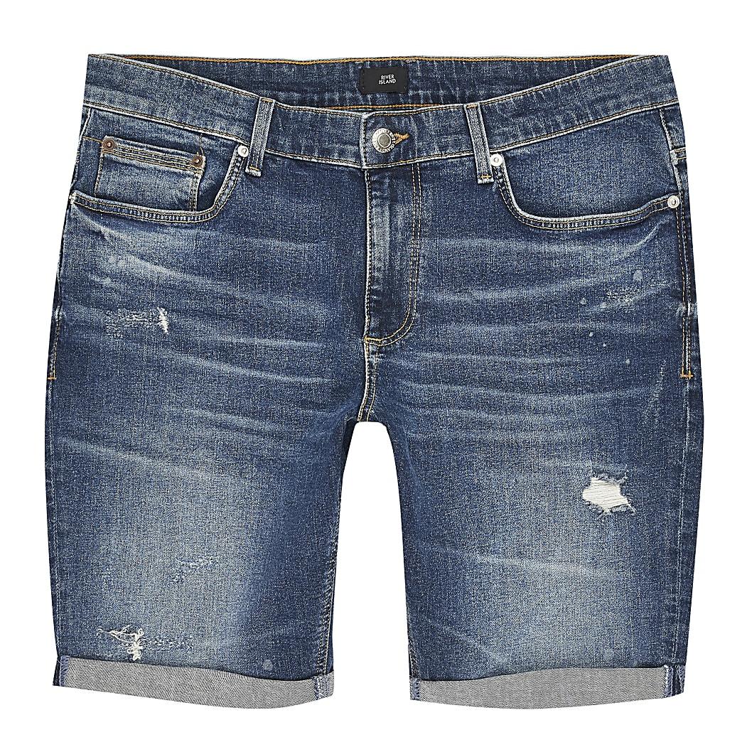 Big and Tall – Blaue Skinny Shorts im Used-Look