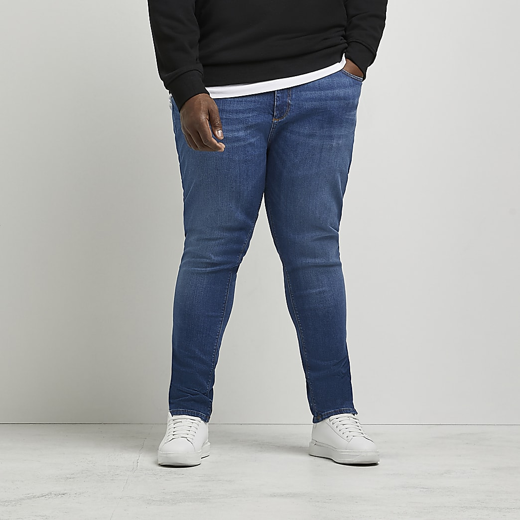 Big and Tall - Sid - Blauwe skinny-fit jeans