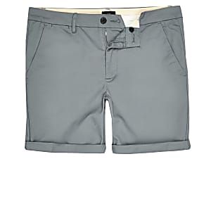 Big & Tall – Blaue Skinny Fit Chino-Shorts